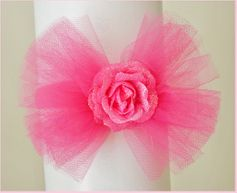 KIDS KAPERS Hot Pink Tulle Headband w/Sparkly Rose Center