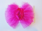 KIDS KAPERS Magenta Pink Sparkly Tulle Bow or Headband w/Rosette