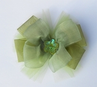 KIDS KAPERS Olive Green Organza Headband w/Flower