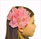KIDS KAPERS Pink Peony Organza Girls Hair Flower w/Lavender, Orange & Green