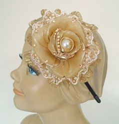 KIDS KAPERS Sparkly Gold Rose Headband w/Lace & pearl