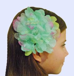 KIDS KAPERS Spring Blossoms Aqua Organza peony Hair Flower on Clip