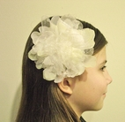 "KIDS KAPERS ""Spring Blossoms"" Elegant Ivory Oganza Hair Flower"