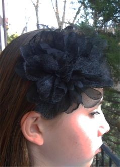 KIDS KAPERS Black Peony Organza Flower Hair Bow