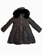 Le Chic Black Hooded Long Girls Winter Quilted Ruffle Coat 10/12