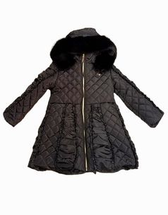 Le Chic Black Hooded Long Girls Winter Quilted Ruffle Coat