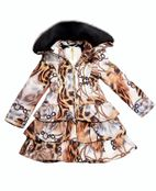 Le Chic Chained Cheetah Ruffle Girls Winter Coat