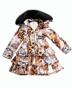 Le Chic Chained Cheetah Ruffle Little Girls Winter Coat 3/4 8/10