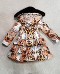 Le Chic Chained Cheetah Ruffle Little Girls Winter Coat 3/4 4/5 8/10