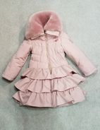 Le Chic Dusty Pink Rufffled Winter Girls Coat w/Collar  12/14 Last 1