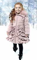 Le Chic Dusty Pink Rufffled Winter Girls Coat w/Collar *Top Seller*