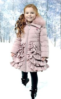 Le Chic Dusty Pink Rufffled Winter Girls Coat w/Collar Pre-order