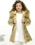 Le Chic Hooded Girls Long Gold Winter Coat *Top Seller* 8/10 10/12