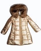 Le Chic Hooded Girls Long Gold Winter Coat *Top Seller* 6/8  10/12