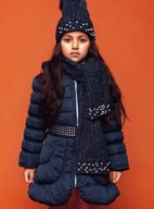 Le Chic Long Navy Girls Winter Coat w/Fur Collar 5/6 6/8 12/14
