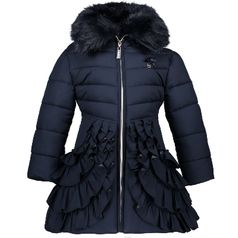 Le Chic Navy Hooded Winter Coat w/Ruffles 11/12