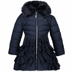 Le Chic Navy Ruffle Long Winter Girls Coat w/Collar