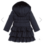 Le Chic Navy Ruffle Long Winter Girls Coat w/Collar 10/12