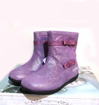 Lelli Kelly Purple Glitter Leather Infant & Toddler Girl Boots w/Bows