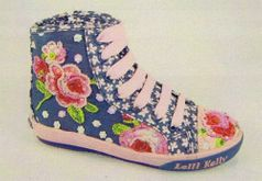 "Lelli Kelly ""Freya"" Blue & Pink Roses High Top Shoes 27/9.5"