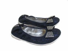 Lelli Kelly Navy Glitter Ballerina Flat Shoes w/Bow 5Yth