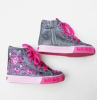 Lelli Kelly Silver & Pink Embr.Girls High Top Shoes