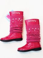 Lelli Kelly Tall Fuschia Patent leather Girls Boots w/Jewels 27 28