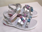 Lelli Kelly Tiffany Silver Girls Sandals w/Glitter Bows 9.5 Last 1