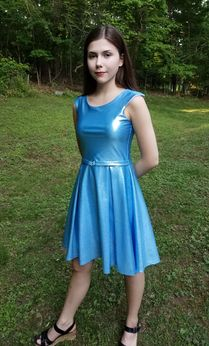 Les Tout Petits Sparkly Blue Belted Pleated Adrianna Dress