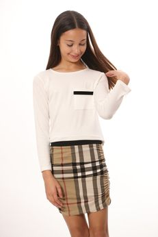 Les Tout Petits 2pc Ivory Top & Plaid Ruched Skirt 14 16