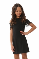 Les Tout Petits Black Cold Shoulder Fringe Tween Dress 12
