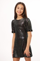 Les Tout Petits Black Sparkle Dress w/Short Sleeves