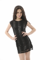 Les Tout Petits Lace & Sequins Black Sheath Dress w/Leather 16