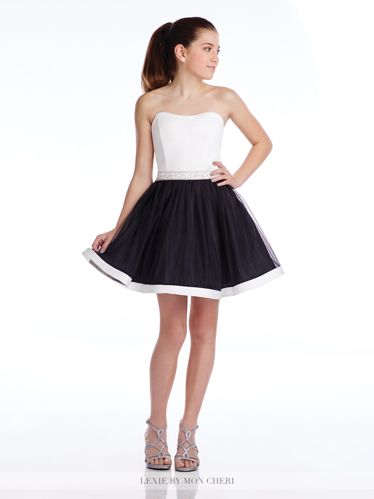 faf4572e210f Lexie by Mon Cheri Black   White Satin Tulle Jr Prom Dress 16 - Semi ...