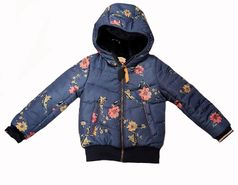 Nono Navy Floral Reversible Faux Fur Girls Winter Jacket  3 7