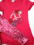 Lipsik Girls 2pc Hot pink Peace Applique Top & Sequined Capris Set 3t