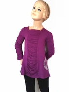 Lipsik Girls  Cool Eggplant Ruched Top w/Peace sign 4 8