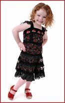 "Lipstik Girl Chiffon ""Flower Tango"" Balck & Red Roses & Lace Dress 8"