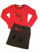 Lipstik Girls 2pc Red Rose Top & Knit Black Skirt Outfit sz 7