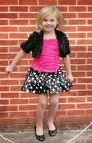 Lipstik Girls 3pc Sequined Dot Skirt, Top & Shrug Set 5 7 8