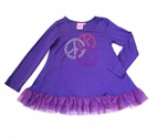 Lipstik Girls  Purple Tunic w/Tulle Trim & Sparkly Peace Signs 6