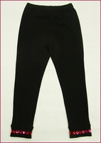 Lipstik Girls Beautiful Black legging w/Jewelled Bottom 10 12