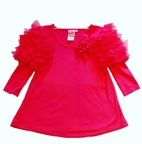 Lipstik Girls Bubble Gum Pink Puff  Sleeves Girl's Top 4 6x