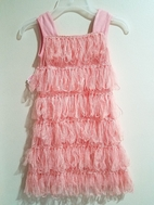 Lipstik Girls Fancy Pink Tulle & Fringe Rhumba Style Girls Dress sz 4