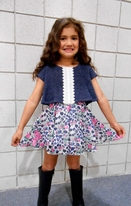 Lipstik Girls Layered Multi Color Overlay Dress w/Lace 6x 8