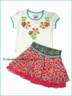 "Lipstik Girls ""Pebbles Playground""  2pc White Tee & Fun Skort Set 12/18m Last 1"