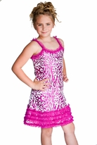 Lipstik Girls Embr. Sequined Girls Dress w/Tulle Ruffles 4