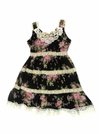 "Lipstik ""Midnight Roses"" Black Pink Ivory Chiffon & Lace Summer Dress 4T"