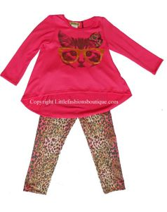 Little Mass  2pc Fun Cat in Glasses Tunic & Animal Leggings 5 *Top Seller*