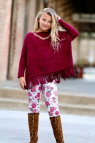 Little Mass 2pc Poncho fringe Tunic & Fall Roses Leggings Set *Top Seller*
